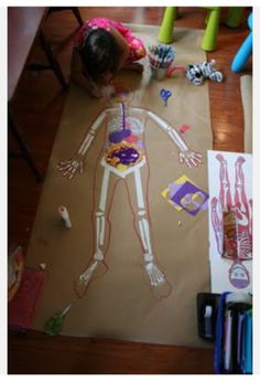 The science center wants a new exhibit on the human body. Students create a life size poster displaying the human body for the science center. Science Classroom, Science Lessons, Teaching Science, Science For Kids, Science Activities, Science Projects, Art For Kids, Learn Science, Human Body Activities
