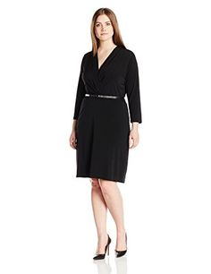 Single Dress Womens Plus Size Faux Wrap Ity Knit W Slider Belt Black 1X * You can get additional details at the image link.