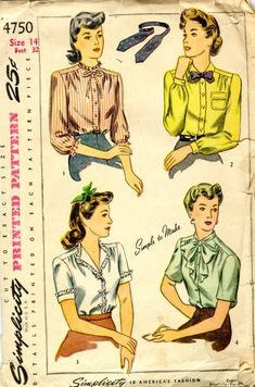 Misses Blouse Vintage Sewing Pattern, Office Fashion, Simplicity 4750 Bust Camisa Vintage, Blouse Vintage, Vintage Dresses, Vintage Outfits, Moda Vintage, Vintage Tops, Retro Vintage, Retro Pattern, Vintage Sewing Patterns