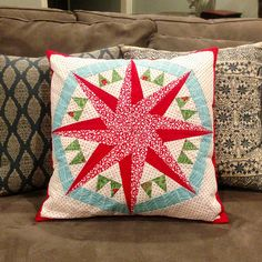 Compass of Many Colors Quilted Holiday Pillow by Three Owls, via Flickr