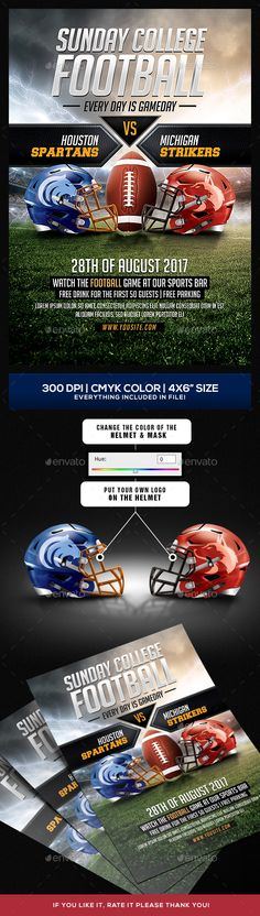 Football Big Game Flyer Template Pinterest Flyer template and