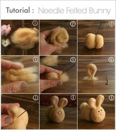 DIY Needle Felted Bunny Tutorial - The M. - A step-by-step tutorial on how to make the cutest little needle felted bunny. Who's thinking abou - Wet Felting, Wool Needle Felting, Needle Felting Tutorials, Needle Felted Animals, Felt Animals, Felted Wool Crafts, Felt Crafts, Felt Bunny, Easter Bunny