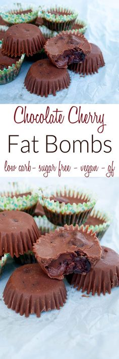 Chocolate Cherry Fat Bombs (vegan, gluten free, low carb, sugar free) - These healthy treats are sweet and rich. Perfect for a keto diet or anyone wanting to consume more coconut oil. fast diet for diabetics Healthy Low Carb Recipes, Healthy Treats, Low Carb Keto, Keto Recipes, Keto Fat, Healthy Tips, Chocolate Low Carb, Chocolate Cherry, Chocolate Recipes