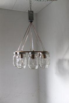 WAGON WHEEL Mason Jar Chandelier Mason Jar Light by BootsNGus