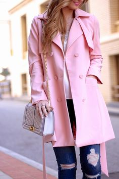 Pink + Lace: Pink Trench, Distressed Denim, Rockstud Valentinos + Rebecca Minkoff Quilted Crossbody on www.forallthingslovely.com