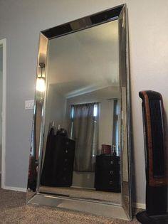 Leaning Floor Mirror, Floor Mirrors, Living Room Mirrors, Living Room Decor, Closet Mirror, Mirror Mirror, Leaner Mirror, Teen Bedroom Designs, Living Room Accessories
