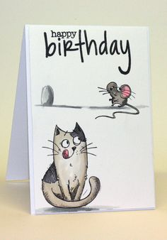 Katzelkraft les chats russe. Distress ink watercoloring and Sizzix Birthday for the sentiment