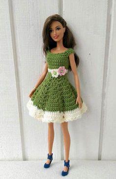 Crochet Patterns Dress Barbie clothes Barbie Crochet Dress for Barbie Doll Crochet Barbie Patterns, Crochet Doll Dress, Barbie Clothes Patterns, Crochet Barbie Clothes, Doll Clothes Barbie, Doll Dress Patterns, Clothing Patterns, Barbie Doll, Pattern Dress