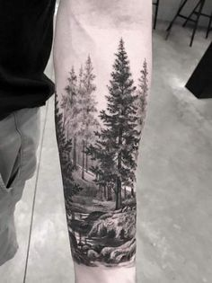 ideas landscape tattoo ideas forests for 2019 Forest Tattoo Sleeve, Black Sleeve Tattoo, Full Sleeve Tattoo Design, Forest Tattoos, Forearm Sleeve, Arm Sleeve Tattoos, Sleeve Tattoos For Women, Leg Tattoos, Body Art Tattoos