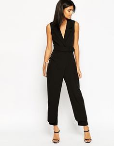 ASOS Jumpsuit with Collar and Belted Waist