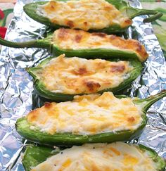 Here's a wonderful, cheesy, gooey bite from Martha Stewart. Baked, not fried. Enjoy! Cheesy Baked Jalapenos Inspired by Martha Stewart  Print Prep time 5 mins Cook time 10 mins Total time 15 ...