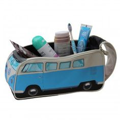 (Kulturbeutel VW Bulli blau) Combi travel bag