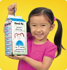 og pinner- All About Me Mobile at Lakeshore Learning me-children putting themselves on the side of a milk carton. All About Me Project, All About Me Crafts, All About Me Preschool, Toddler Preschool, Classroom Projects, School Classroom, School Fun, School Projects, Back To School