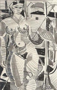 Louis Latapie – 'Nu féminin en bord de mer', Encre et lavis d'encre sur papier, 50x31,5 cm