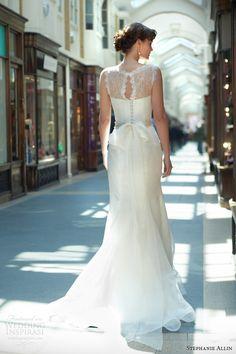 stephanie allin 2014 melanie sleeveless wedding dress illusion neckline back train