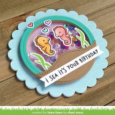 Lawn Fawn Intro: Seahorsin' Around + A Little Sparkle - Lawn Fawn - Modern Design Popup, Happy Birthday Cards, It's Your Birthday, Underwater Birthday, Paper Crafts Magazine, Lawn Fawn Blog, Lawn Fawn Stamps, Shaker Cards, Copics