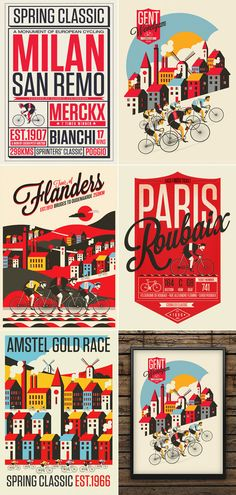 The Spring Classics – Vintage Inspired Illustrated Cycling Prints. Oh yes, that is something for real cycling fans like me. London based creative illustrat