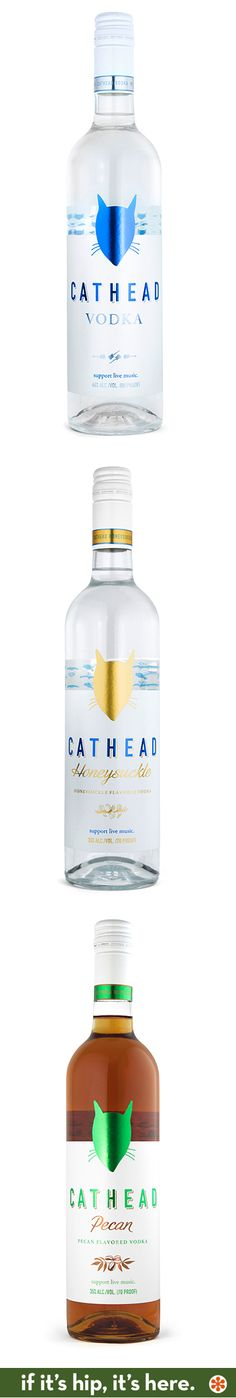 Cathead original, honeysuckle and pecan vodkas.