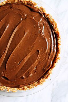 Vegan Chocolate Avocado Pudding Pie with Salted Almond Date Crust