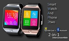 Indigi Smart Watch And Phone 2-in-1 (GSM Sim Card + Bluetooth Sync) – Free 32gb SD   Indigi SWAP TWO is can toggle between Bluetooth mode and SIM card mode, allowing you to slide in a micro-SIM card so the watch becomes a standalone phone or