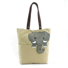 Sleepyville Critters Peeking Elephant Tote Bag On Canvas