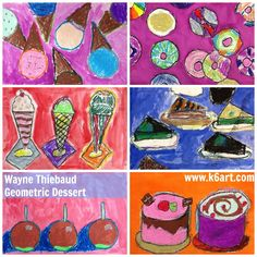 Second graders used circle, triangle, and ellipse tracers as a starting point for these artworks.