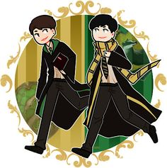 Dan in Slytherin while Phil is in Hufflepuff.