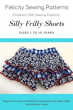 Kids frilly shorts or skater skirt pdf sewing pattern by Felicity Sewing Patterns. Sizes 1 to 10 years. Great for all seasons.