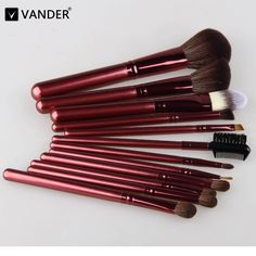 Vander 12Pcs Brushes Set Professional Soft Makeup Foundation Brush For Eye Face Shadows Lip Liner Powder Make Up Cosmetic Tools
