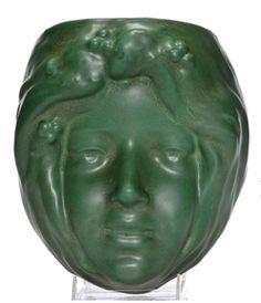 Roseville Pottery, matte green woman's head wall pocket, in. Art Nouveau, Art Deco, Roseville Pottery, Wall Pockets, Pottery Art, Auction, Deco Wall, Vase, Sculpture