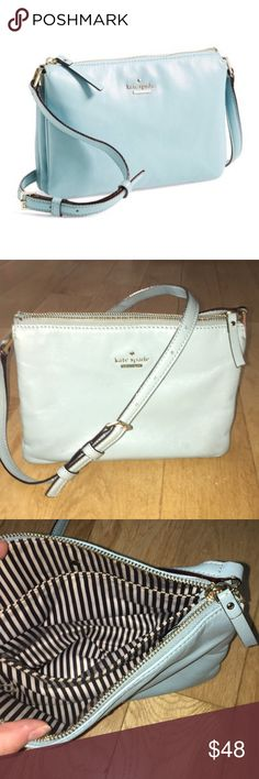 Kate Spade ♠️ Ivy Place Gabriella Crossbody Stunning, sophisticated Kate Spade ♠️ baby blue leather crossbody ▪️Good used condition, see photos for scuffing to bottom corners of bag - cannot be seen when worn  ▪️3 pocket interior - excellent condition on inside  ▪️slight bronzing on front label  ▪️adjustable strap, no damage kate spade Bags Crossbody Bags
