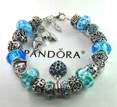 Authentic Pandora Silver Charm Bracelet with European Charms Mother Daughter 2 #Pandoralobsterclaspclaw #European