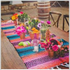 Mexican dinner party table decorations