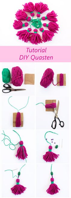Fast DIY tassels - do it yourself! Goes in no time, is fun and enchants in . - Fast DIY tassels – do it yourself! Goes in no time, is fun and conjures up a touch of boho style - Yarn Crafts, Kids Crafts, Diy And Crafts, Arts And Crafts, Boho Diy, Boho Decor, Diy Tassel, Tassels, Glands