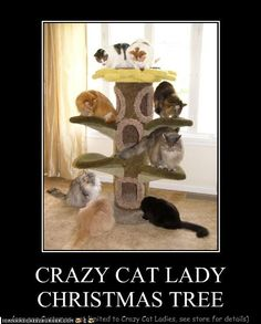 "CRAZY CAT LADY CHRISTMAS TREE    =^.^=Have a ""super sparkly"" Christmas, Brit!!!"