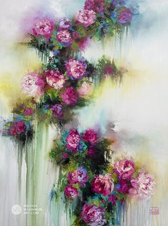 Colourful impressionist flower painting of garden roses and abstract floral art by contemporary artist Melissa McKinnon painted with palette knife and thick impasto texture. Abstract Flower Art, Acrylic Flowers, Acrylic Art, Painting Inspiration, Art Projects, Canvas Art, Floral, Palette Knife, Artwork