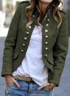 Casual Long Sleeve Button Blazer Coat Shop- Women's Best Online Shopping - Offering Huge Discounts on Dresses, Lingerie , Jumpsuits , Swimwear, Tops and More. Look Blazer, Casual Blazer, Blazer Jacket, Women's Casual, Estilo Fashion, Green Coat, Blazer Fashion, Fashion Coat, Fashion Fashion