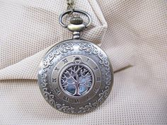 vintage wish tree Pocket Watch Tree of life Necklace charm necklace with chain vintage style steampunk jewelry antique gift