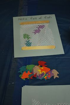 Nets Full of Fish - Jon 21:5-6 activities. Add a Bible story to Apologia Swimming Creatures study. Several activities for #preschool #homeschool