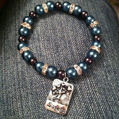 "Shades of Blue with ""Sisters"" Charm"