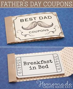 Personalizable Fathers Day Coupons