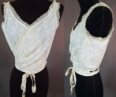 Edwardian Vintage Model Brassiere Label White Eyelet Lace Camisole Wrap Bra Top #ModelBrassiere #lingerie