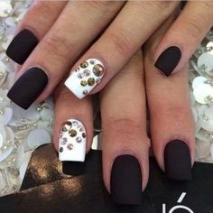 White Matte Accent Nail with Rhinestones