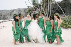 Emerald green beach bridesmaid dresses!