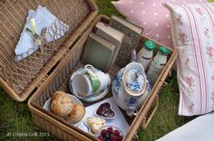 lovely picknick basket: scones-check, clotted cream and jam-check, tea-check, books-check