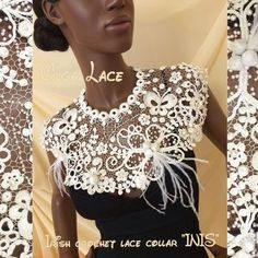 """Купить Кружевной воротник """"INIS"""" от Olga Lace - бежевый, кремовый, воротник, воротничок, ирландское кружево Form Crochet, Bead Crochet, Irish Crochet, Crochet Patterns, Crochet Lace Collar, Crochet Cardigan, Sewing Collars, Romanian Lace, Lace Art"""