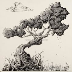 Bonsai Tree Art / Minimalistic Art Tree of by BundakyabStudios, $95.00  I bought a copy of this drawing and it's just amazing.