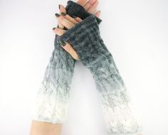 long knit fingerless gloves knit arm warmers fingerless mittens Cable knitted gloves grey ombre white tagt team on Etsy, $34.00
