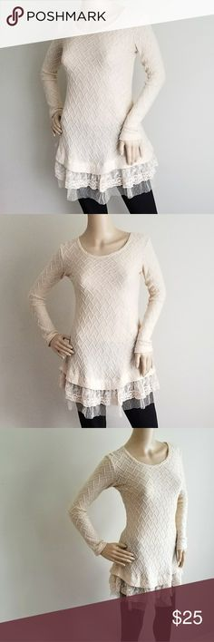 TULLE AND LACE Detail A Line  Sweater S Tulle and Lace Trim  Size S Unlined  Polyester spandex blend Sweaters Crew & Scoop Necks