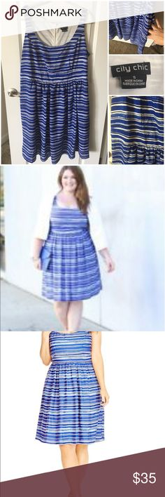 Blue Stripped Scoop Neck Dress Beautiful summer dress just waiting for you. Dress it up for a night out or add a coat and it's ready for work. This City Chic dress has pockets too!! City Chic Dresses